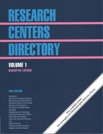 Research Centers Directory: 5 Volume Set 49th ed.
